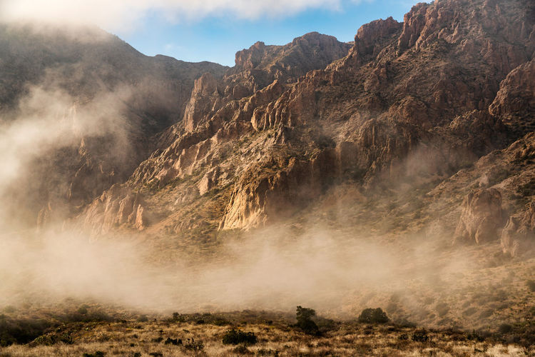 Foggy mountains in big bend national park - texas