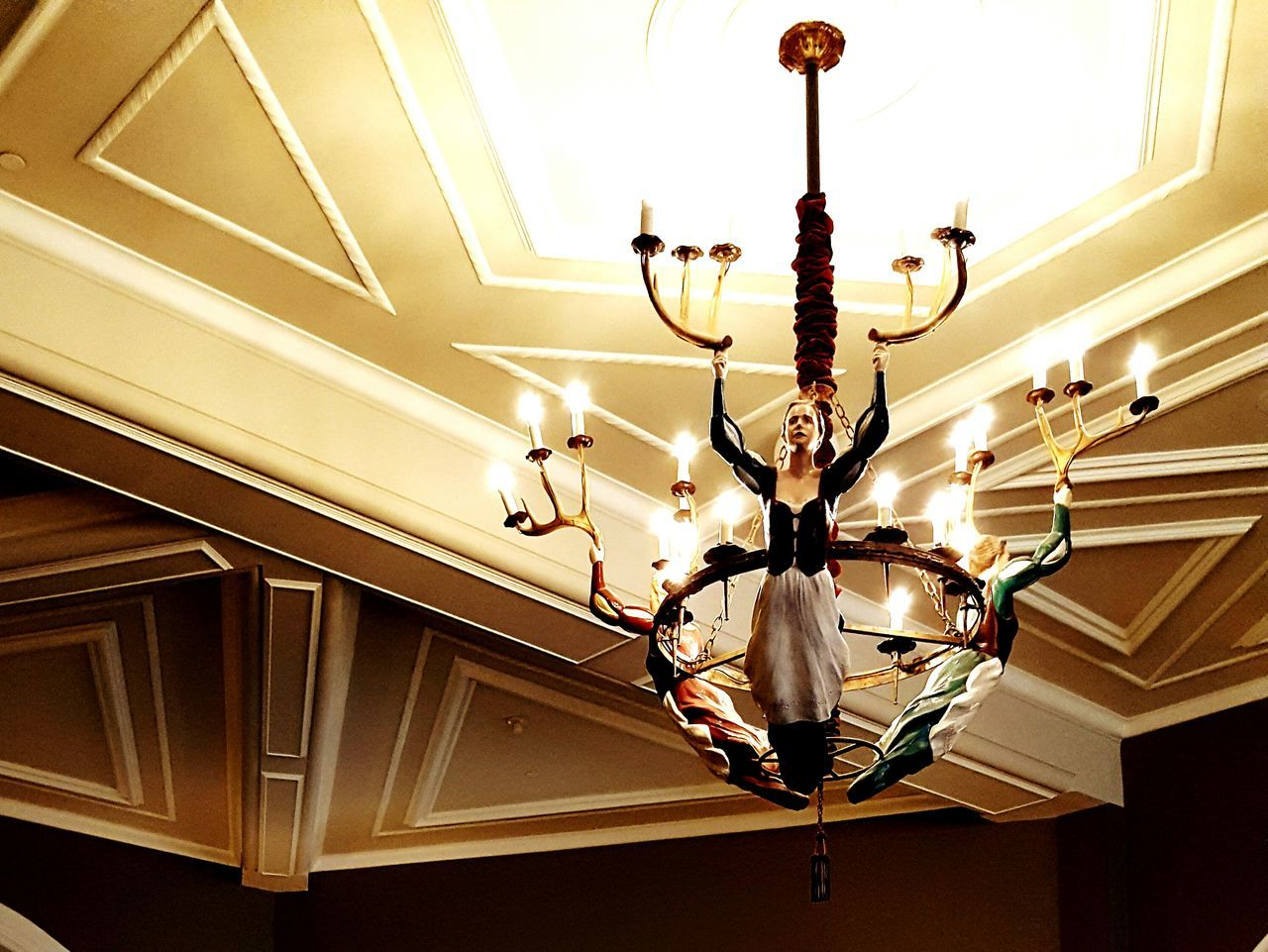 ceiling, hanging, indoors, lighting equipment, low angle view, illuminated, no people, ceiling fan, light bulb, architecture