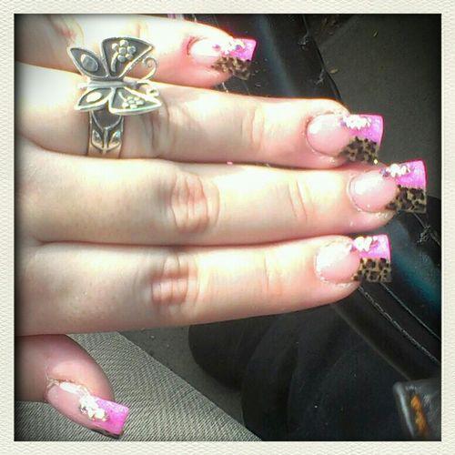 Cheetah/pink Nails