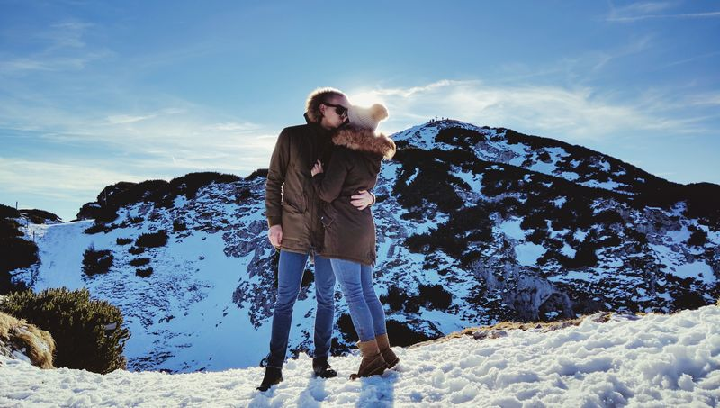 One Person Standing Front View Warm Clothing Snow Full Length One Man Only Winter People Sky Hood - Clothing Outdoors Cold Temperature Only Men Adults Only Day Young Adult Adventure Tree Adult Love Kiss Hug Salzburg Salzburg, Austria
