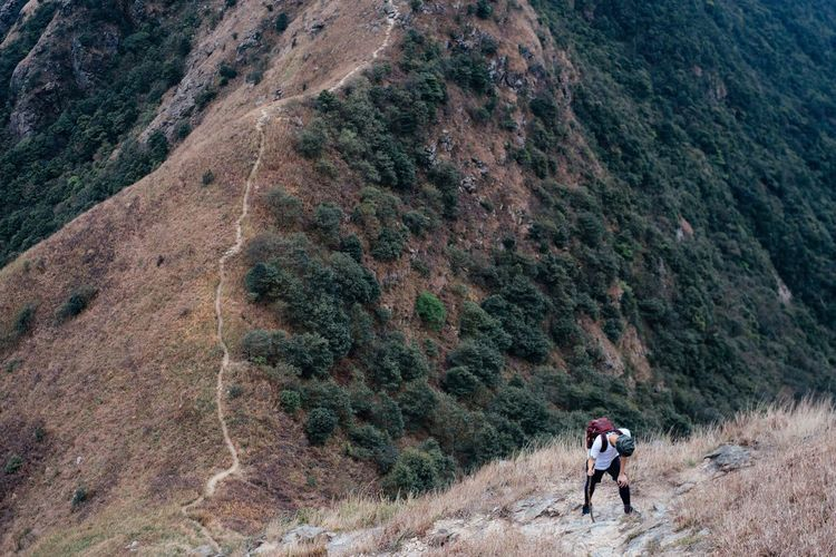 High Angle View Of Hiker On Steep Field