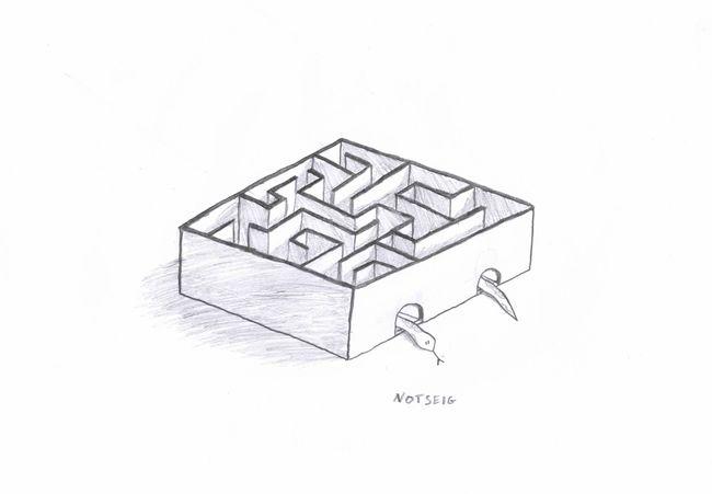 Badie Notseig Sketch Draw Drawing Maze Pierre White Background