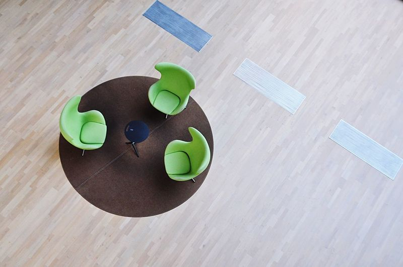 Directly above shot of wooden table on floor