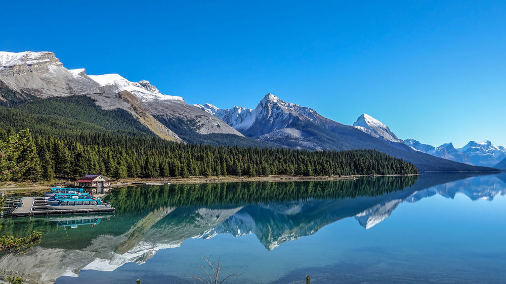 Banff National Park  Beauty In Nature Canada Clear Sky Idyllic Maligne Lake Mountain No People Reflection Water Waterfront