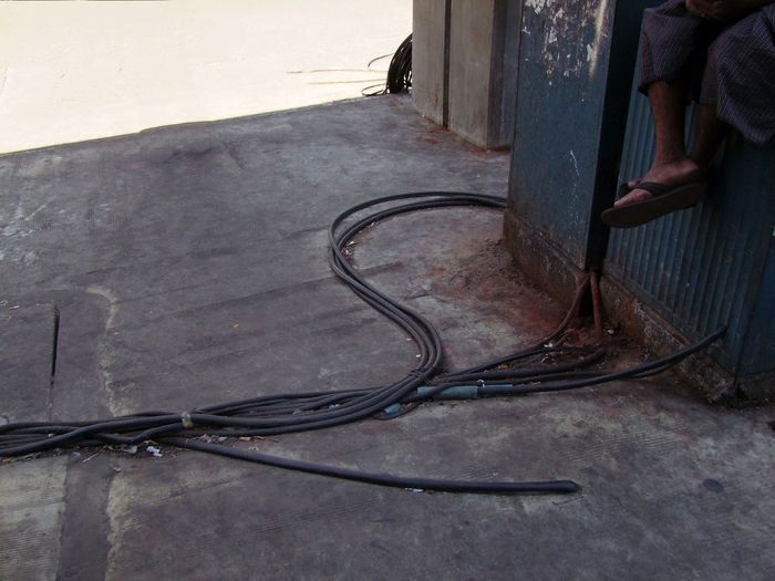 Health & Safety! Cables China Town Composition Electric Cables Full Frame Health And Safety High Angle View Myanmar Outdoor Photography RISK Risk Of Falling Over Sunlight And Shade Unusual Yangon