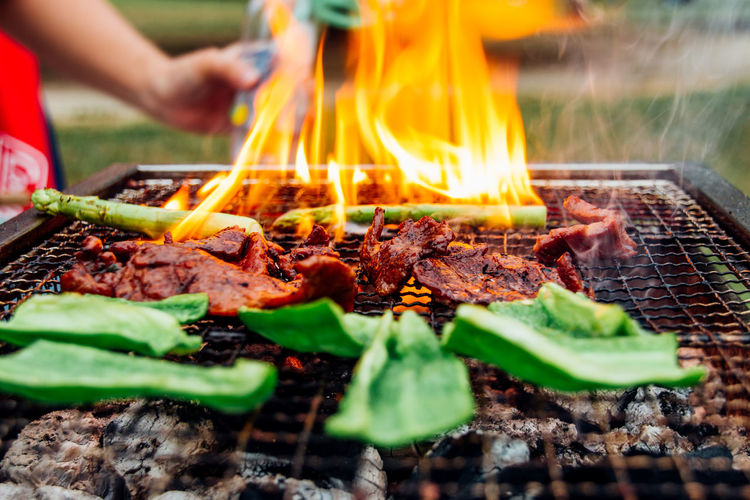 Vegetable With Meat Cooking On Barbecue Grill