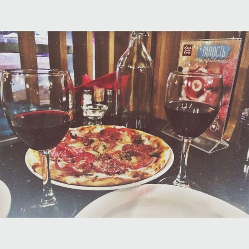 Pizza Wine Red Wine Italian Food Food And Drink Wineglass Tomato Wine Bottle Food Fork Alcohol Indoors  Meal Unhealthy Eating No People Table Fast Food Freshness Spaghetti Close-up