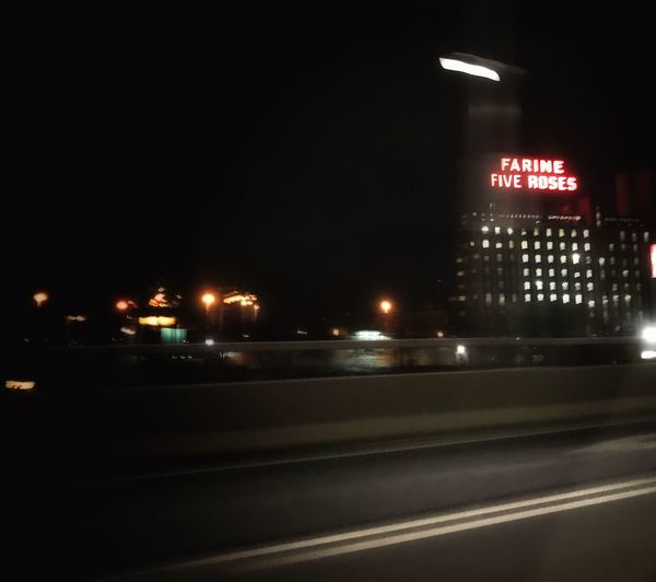 Farine Five Roses Illuminated Night Built Structure Architecture No People Transportation City Building Exterior Road Travel Destinations Outdoors Sky