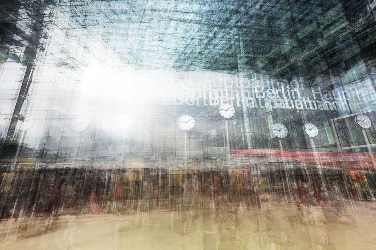 Double exposure, Hauptbahnhof Berlin Architecture Arrive Blur Building Clock Crowd Departure Double Exposure Hauptbahnhof Berlin Motion Move Outdoors People Time Trainstation