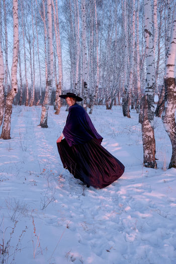 Runaway lady. My Best Photo One Person Snow Winter Tree Cold Temperature Land Nature Forest Day WoodLand Warm Clothing Lifestyles Field