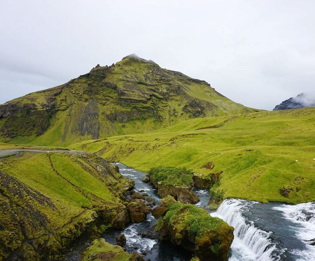 Iceland Sheep River Stream Skogar Lord Of The Rings Rocks In Water Rocks In River Green Landscape Wilderness Mountain Camping Nature Beauty In Nature Mysterious Mysterious Landscape Hill Sky Landscape Cloud - Sky Moss Foggy Geology Volcanic Landscape