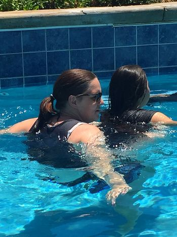 Mom and daughter Pool Swimming Pool Water Child Childhood Swimming Women
