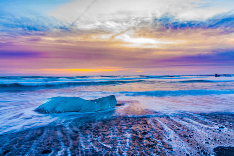 Ice Iceland Winter Beach Beauty In Nature Cloud - Sky Day Diamond Beach Horizon Over Water Long Exposure Nature No People Outdoors Scenics Sea Sky Sunset Tranquil Scene Water Wave