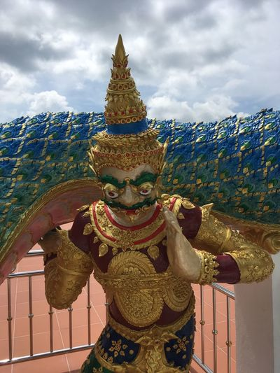 Thai myth giant holding snake on his shoulders Golden Temple Wat EyeEm Selects Cloud - Sky Sky Representation Sculpture Human Representation Statue Built Structure No People Architecture Art And Craft Religion Decoration Outdoors Day Ornate Male Likeness Belief