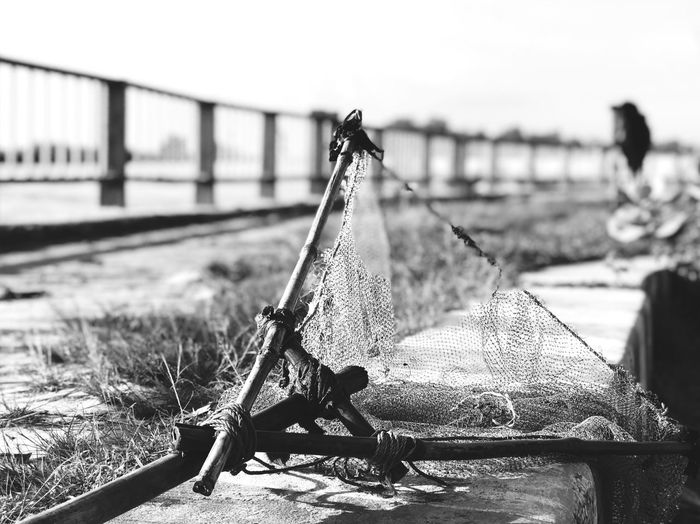 Black And White Friday Day Focus On Foreground Outdoors No People Sunlight Nautical Vessel Sky Close-up Fishing Net Water Lake