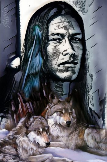 Native American Indian Wolf Artwork By Me Edited By Me