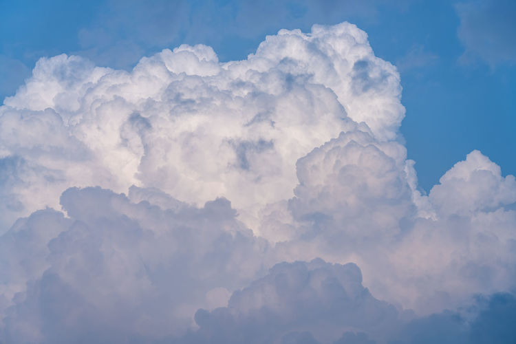 White cumulus clouds with blue sky background