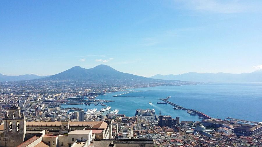 Sea High Angle View Mountain Vesuvio Vesuv Italy Italia Built Structure Architecture Building Exterior Water Residential Building Residential District Town Neaples