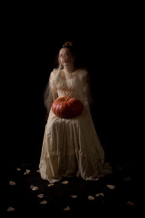 Samhain Shutter Drag Pumpkin Halloween Halloween_Collection Young Women Wedding Dress Full Length Black Background Period Costume Bride Studio Shot Beautiful Woman Females Stage Costume