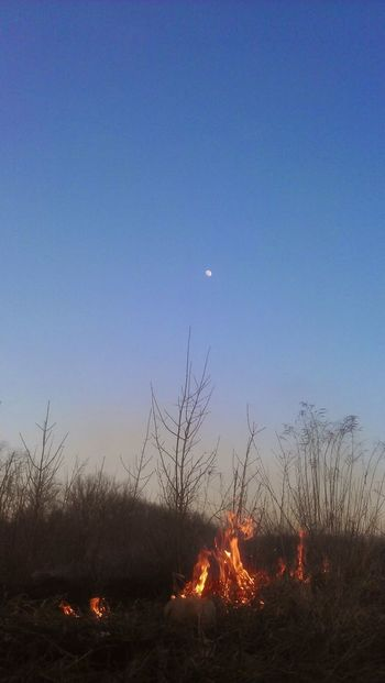 Burning Clear Sky Field Flame Moon No People Tranquility