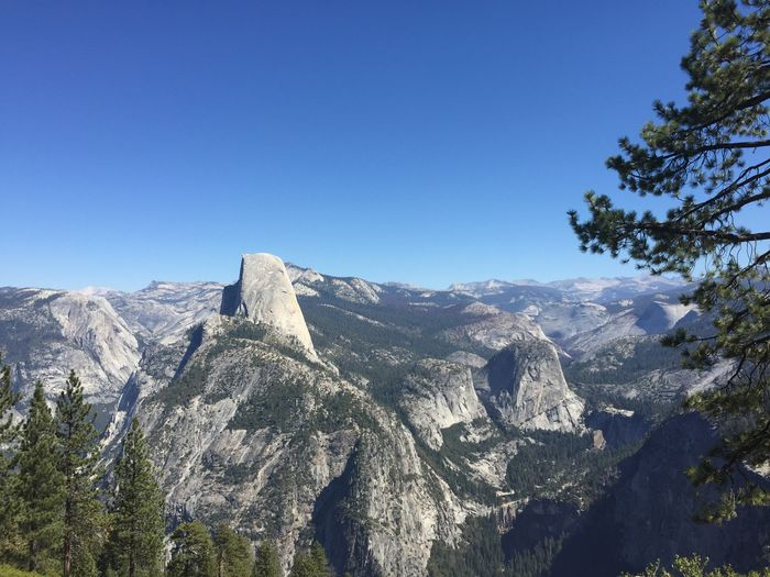 Sky Mountain Clear Sky Beauty In Nature Scenics - Nature Nature Tranquility Tranquil Scene Tree Rock No People Blue Environment Plant Day Copy Space Mountain Range Landscape Non-urban Scene Outdoors Mountain Peak High Formation Halfdome Yosemite National Park