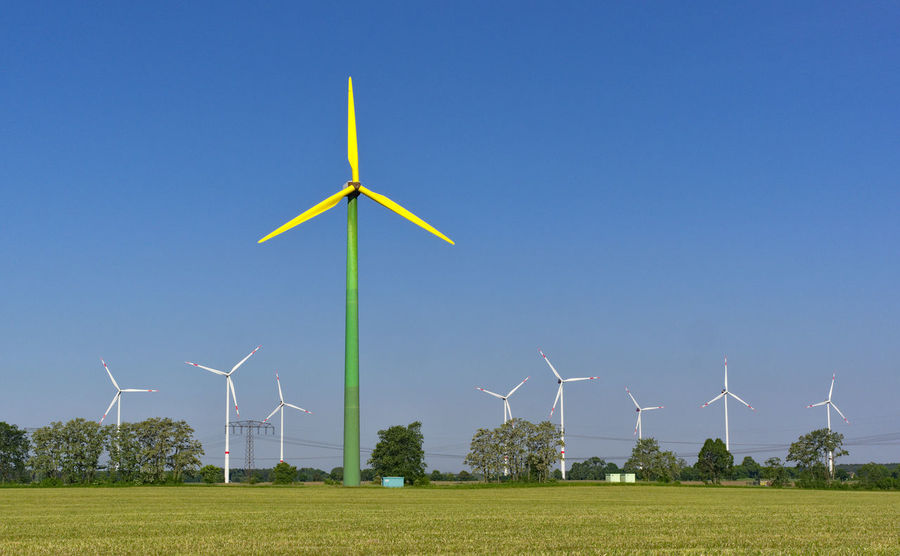 Barnim Alternative Energy Beauty In Nature Blue Clear Sky Day Electricity  Environment Environmental Conservation Field Fuel And Power Generation Land Landscape Nature No People Outdoors Power In Nature Power Supply Renewable Energy Sky Sustainable Resources Technology Turbine Wind Power Wind Turbine