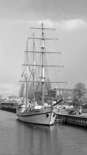 Ready to sail Blackandwhite Nautical Vessel Water Transportation Mode Of Transportation Sailboat Sky Sea Ship Nature Architecture Mast Built Structure Pole No People Building Exterior Day Sailing Ship Tall Ship Outdoors Passenger Craft