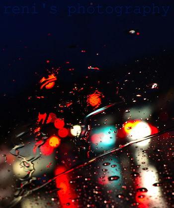Rain Raindrops Rain Drops Night Lights