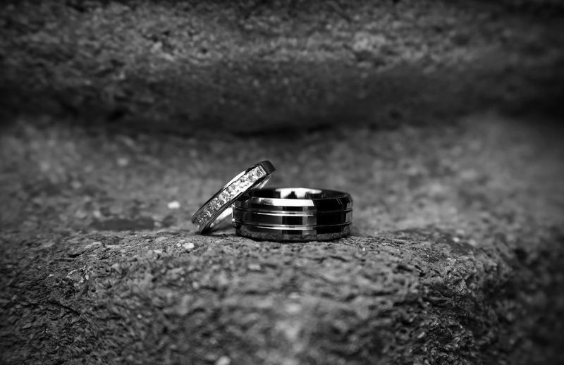 Church Blackandwhite Close-up Day Emotion Engagement Ring Event Jewelry Life Events Love Metal No People Positive Emotion Ring Rock Selective Focus Silver Colored Solid Still Life Two Objects Wedding Wedding Ring