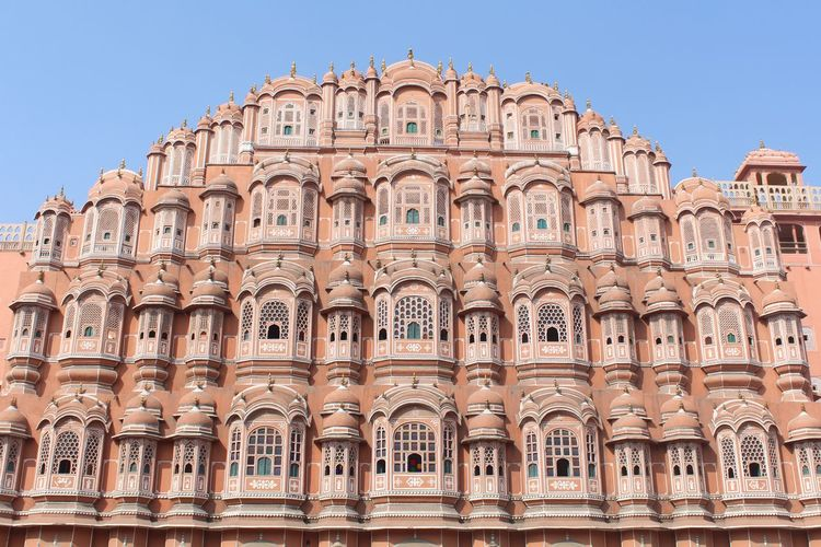 Low angle view of hawa mahal against clear sky