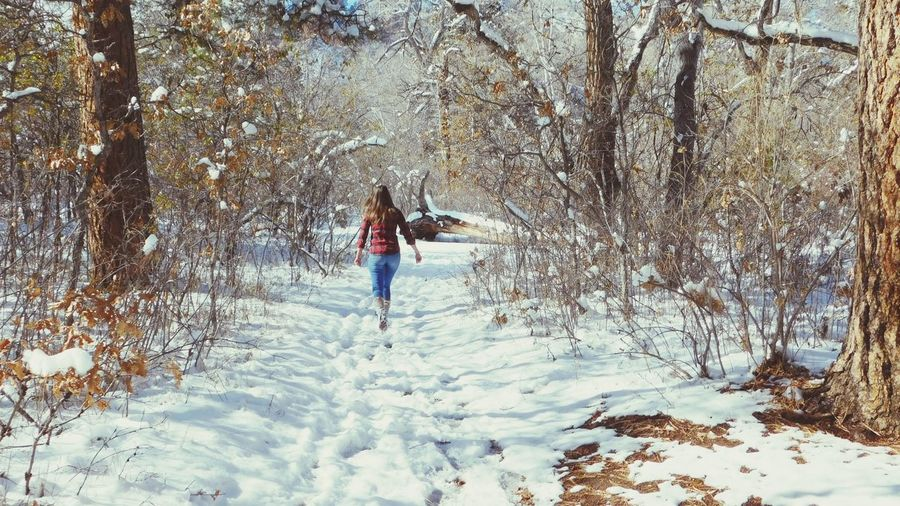 Hiking Snow Cold Temperature Tree Winter Real People One Person Lifestyles Leisure Activity Nature Plant Land Full Length Day Beauty In Nature Field Women Motion Non-urban Scene Outdoors Warm Clothing