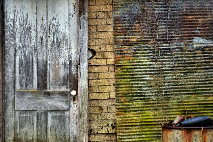 Close-up of abandoned door
