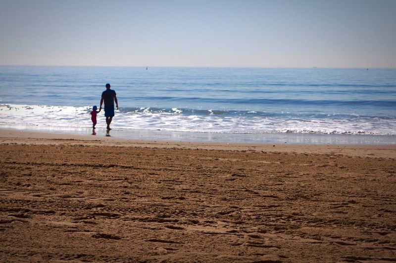 Beach Dad Beautiful Kids Toddler  Daughter Father Beach Sea Land Water Sky Beauty In Nature Sand Real People Nature Men Horizon Wave Visual Creativity This Is Family