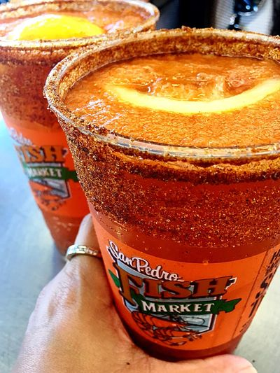Michelada Relaxing With Frends Ring Lemon DosXX Beer San Pedro Fish Market San Pedro California Food And Drink Refreshment Drink Close-up Still Life Freshness Glass Orange Color Red