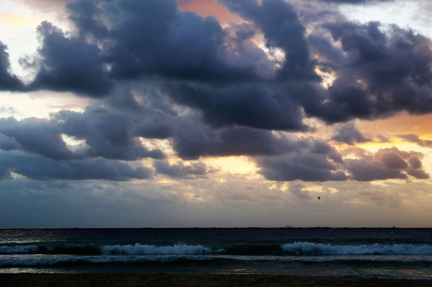 Playa del Carmen Beach at Sunset Dramatic Sky Sunset Clouds Beach Beach At Sunset Beauty In Nature Cloud - Sky Day Dramatic Sunset Clouds Horizon Over Water Idyllic Nature No People Outdoors Power In Nature Scenery Scenics Sea Sky Storm Cloud Sunset Sunset Clouds And Sky Tranquil Scene Tranquility Water Wave Breathing Space