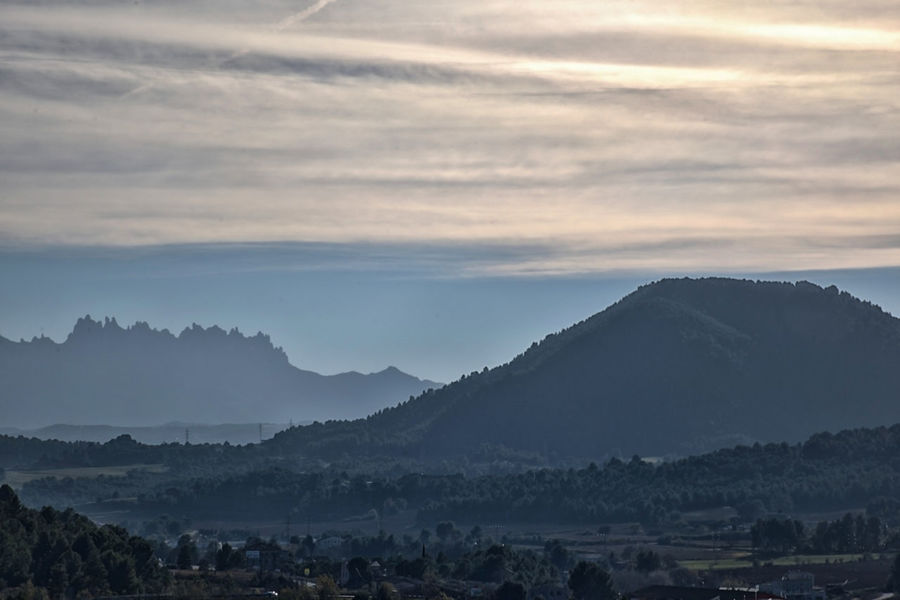Mountains in Catalonia in autumn Catalonia No People Non-urban Scene Mountain Range Hazy  Idyllic Outdoors Tree Fog Plant Sunset Nature Environment Landscape Tranquility Tranquil Scene Cloud - Sky Beauty In Nature Scenics - Nature Mountain Sky Montserrat Mountain