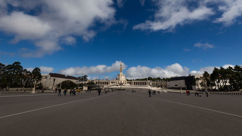 Panoramic view of the Sanctuary of Our Lady of Fátima, Portugal Apparitions Blue Sky Cathedral Chruch Copy Space Fátima Lady Marian Apparitions Our Lady Our Lady Of Fatima Pilgrimage Portugal Portuguese Religion Sky Square Tourism Travel Destinations
