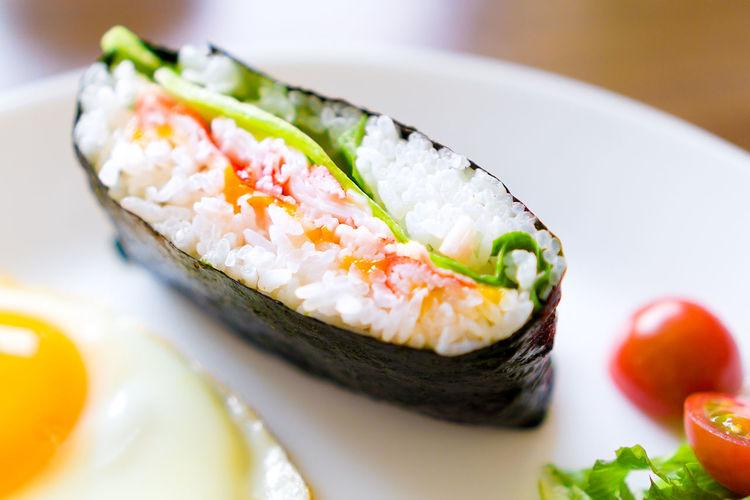 Onigirazu🍙 Breakfast Food Freshness Lunch Meal Onigirazi Plate Plate Of Food Ready-to-eat Salad