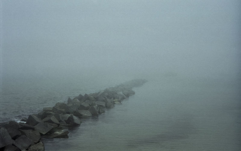 Foggy Baltic Sea with rocks and water Fog Sea Water Tranquil Scene Beauty In Nature Scenics - Nature Misty Baltic Sea Rocks Rocks And Water Non-urban Scene Waterfront Outdoors Rock Nature Day No People Dark Gloomy Low Visibility