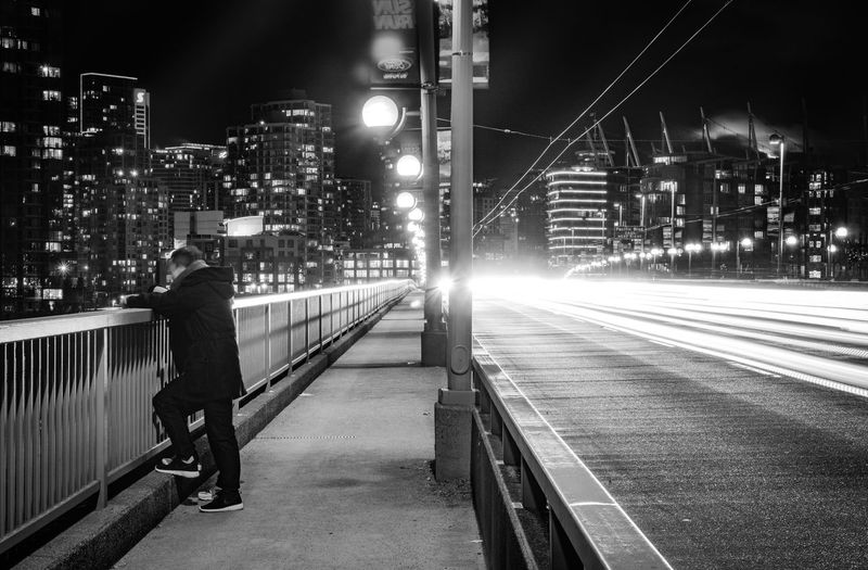 Black And White Cityscape Vancouver Cambie Bridge Downtown Long Exposure Night Illuminated City City Life Transportation Street Light Motion Architecture Road