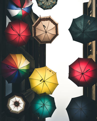 Umbrellas Basel, Switzerland Colors Farbe Creativity Decoration Design Farbenspiel Full Frame Hanging Look Up Multi Colored No People Pattern Schirm Sonnenschirm Umbrella Variation