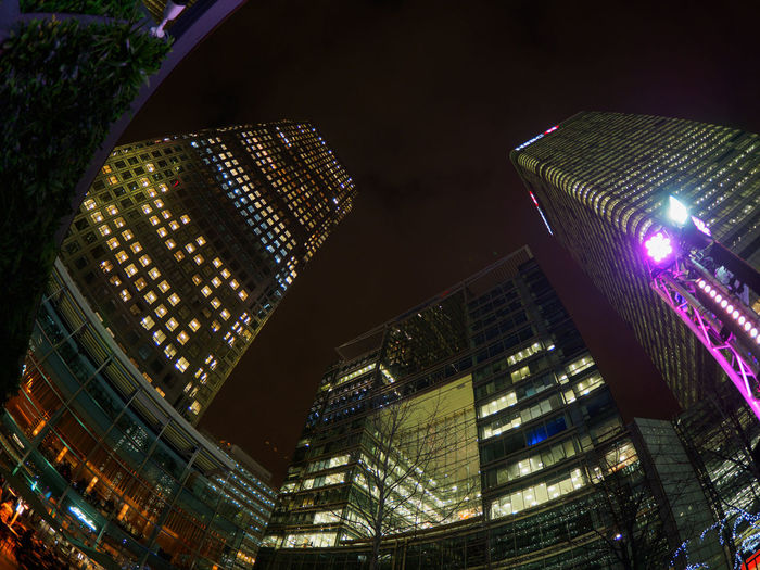 Canada Square in Canary Wharf, London Building Exterior Night Architecture Built Structure Illuminated City Building Office Building Exterior Modern Low Angle View Tall - High Skyscraper Office No People Tower Fish-eye Lens Cityscape Outdoors Sky Financial District  Canary Wharf Canada Square Finance Financial District  Finance And Economy