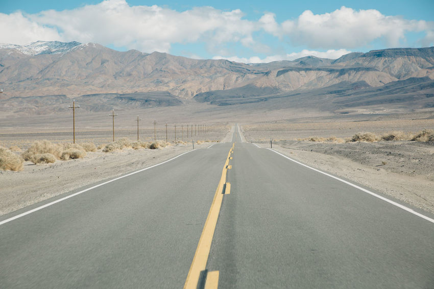 Arid Climate Blue Sky CA-190 Coso Day Death Valley Desert Diminishing Perspective Empty Landscape Mountain Mountain Range Mountains Nature Olancha Outdoors Road Road Road Marking Roadtrip Scenics Sky The Way Forward Transportation White Line