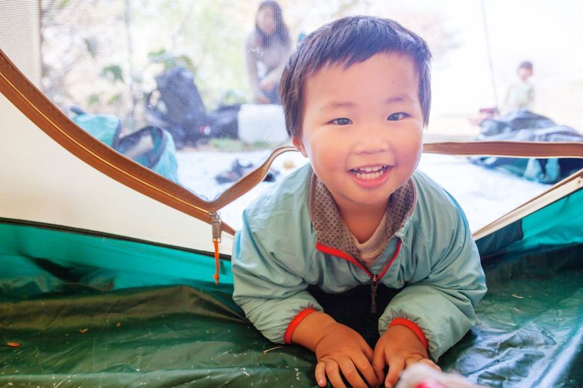 Boy Camping Morning Children Smile Hello World