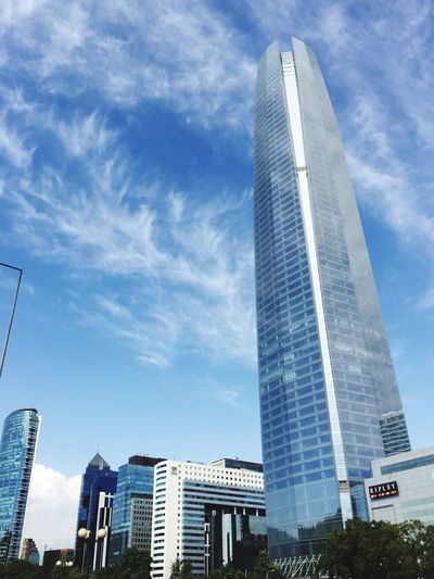 Architecture Built Structure Building Exterior City Skyscraper Sky Low Angle View Modern Tower No People Outdoors Day Cloud - Sky Cityscape Office Block Costanera Center IPhone