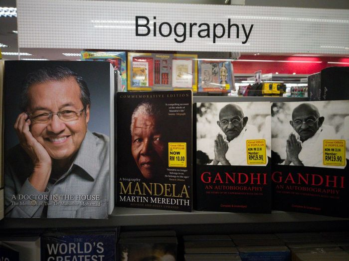 Picture of biographies book of great leader in a bookstore Biography Book Bookstore Great Leader World Leaders Mahatma Gandhi Nelson Mandela Malaysia Prime Minister Store Business Close-up Information Text Written Information Sign Price Tag Single Word