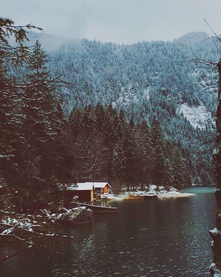 I'm so in love with this season. ❤️☃ EyeEm Best Shots Eye4photography  Mountains Fog Winter Snow Mountains And Sky EyeEm Nature Lover Lake Eibsee Alpen Cabin Showcase: December IPhoneography