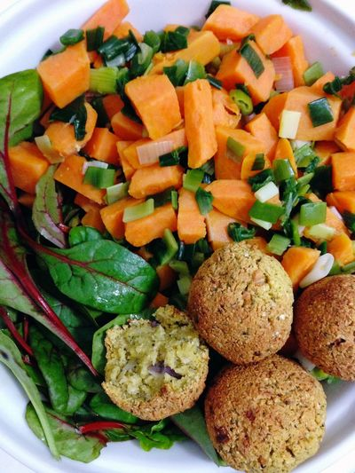 Make It Yourself Vegetables Falafel from Chickpea dough 365 Photos In 2015 red Chard Salad Vegetarian Food Vegan Food Sweet Potatoes green onions