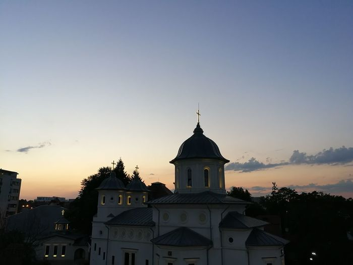 Sunset City Sky Architecture Place Of Worship Christianity Church Religion
