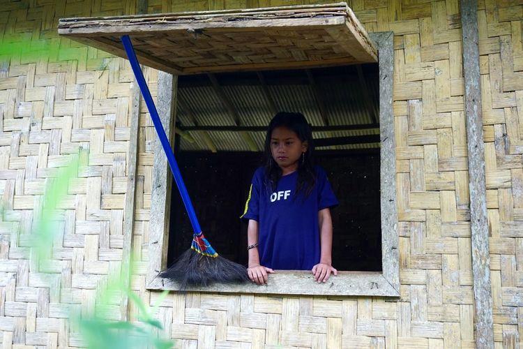 Waiting The Art Of Street Photography Child Childhood Girls Full Length Front View Exterior Door Closed Door Door Handle Door Knocker Open Door